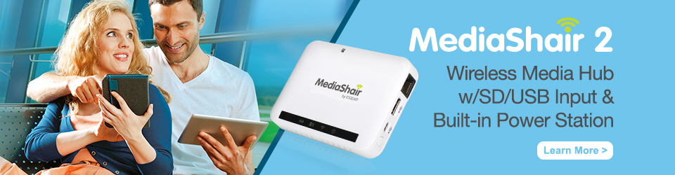 MediaShair 2 - Wireless Media Hub w/SD/USB Input & Built-in Power Station
