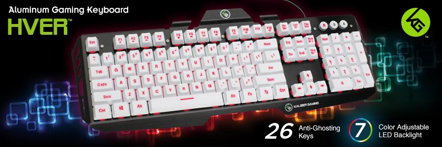 IOGEAR - GKB704L-WT - Kaliber Gaming HVER Aluminum Gaming Keyboard