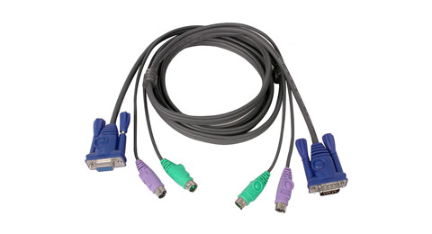 Micro-Lite™  Bonded All-in-One KVM Cable, 10 ft. , PS/2