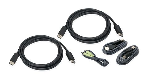 10 Ft. Dual View DisplayPort, USB KVM Cable Kit with Audio (TAA)