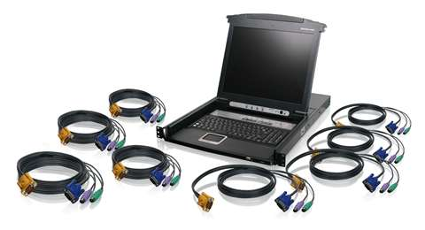 8-Port LCD Combo KVM Switch with PS/2 KVM Cables