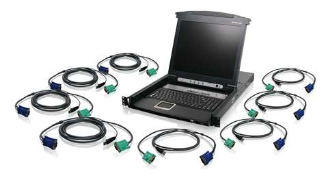 8-Port LCD Combo KVM Switch with USB KVM Cables