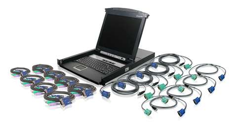 16-Port LCD Combo KVM Switch with Cables