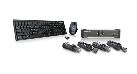 2 Port DVI KVMP with cables and wireless keyboard / mouse combo