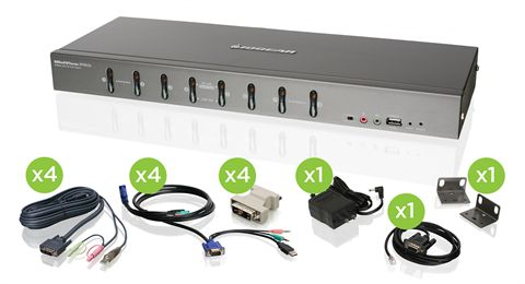 8-Port DVI KVMP Switch with VGA support and Cables