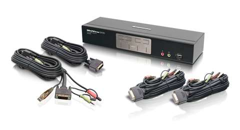 4-Port Dual-Link DVI KVMP with 2.1 Sound Audio