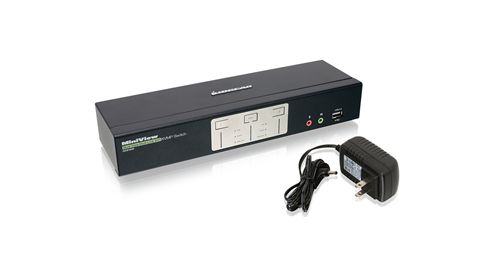 2-Port Dual View Dual-Link DVI KVMP Switch with USB 2.0 Hub and Audio (TAA Compliant)