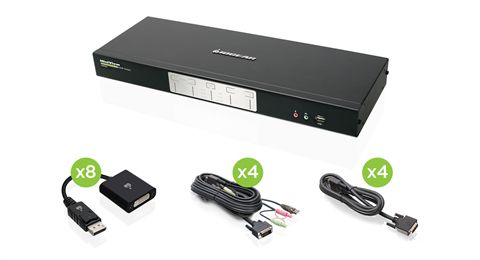 4-Port Dual-Link Dual View DVI and DisplayPort KVMP Kit (TAA Compliant)