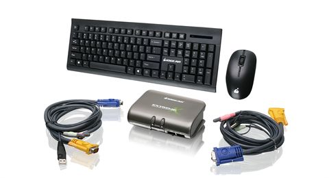 2-Port Dual Platform KVMP Switch w/ Wireless Keyboard and Mouse Kit