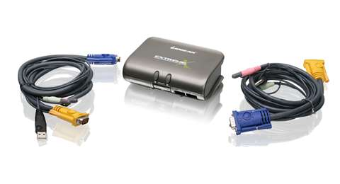 2-Port MiniView™ Extreme Multimedia KVMP Switch w/Cables