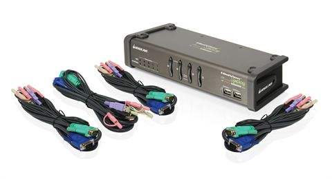 Miniview Symphony Multi-function 4-Port KVM Switch with cables (TAA Compliant)