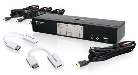 4-Port HDMI KVMP with DisplayPort Adapters Bundle