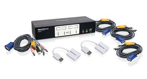 4-Port VGA and DisplayPort KVMP Kit with Audio and OSD