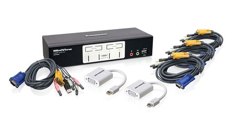 4-Port VGA KVMP with Mini DisplayPort Adapters