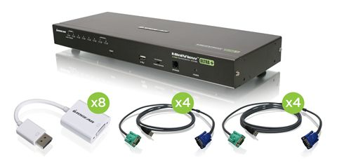 8-Port USB PS/2 Combo VGA DisplayPort KVM Kit