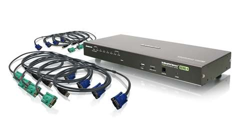 8-Port USB PS/2 Combo VGA KVM Switch with USB KVM Cables