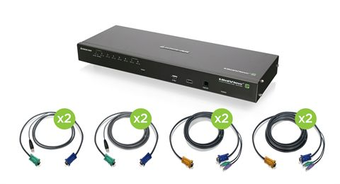 8-Port IP Based KVM Kit with PS/2 and USB KVM Cables (TAA)