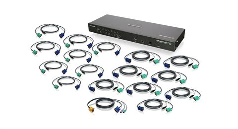 16-Port IP Based KVM Kit with USB KVM Cables