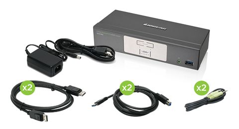 2-Port DisplayPort KVMP Switch with USB 3.0 Hub (TAA Compliant)