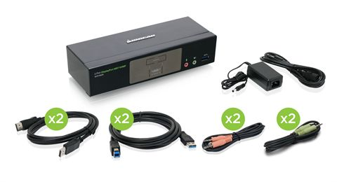2-Port 4K DisplayPort KVMP Switch with Dual Video Out and RS-232 (TAA Compliant)