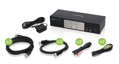 2-Port DisplayPort 1.2 KVMP Switch with USB 3.1 Gen1 Hub and Audio (TAA Compliant)