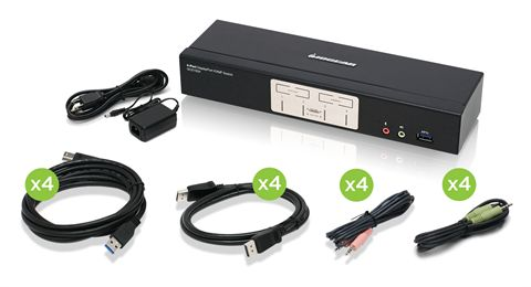 4-Port Displayport 1.2 KVMP with Built in USB 3.1 Gen 1 Hub and Audio (TAA Compliant)