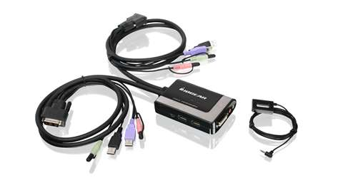2-Port USB DVI-D Cable KVM with Audio and Mic.