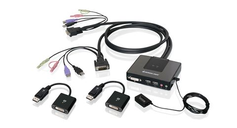 2-Port Dual-Link DVI and DisplayPort Cable KVM Kit with 2.1 Audio