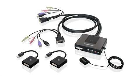 2-Port Dual-Link DVI and Mini DisplayPort Cable KVM Kit with 2.1 Audio