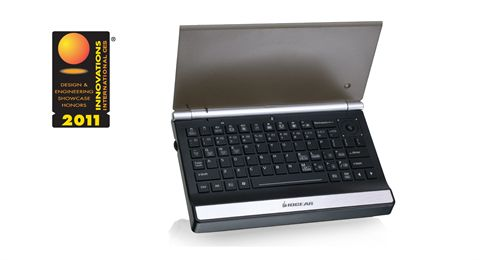2.4GHz Multimedia Mini Keyboard with Laser Trackball, Scroll Wheel and Backlight LED