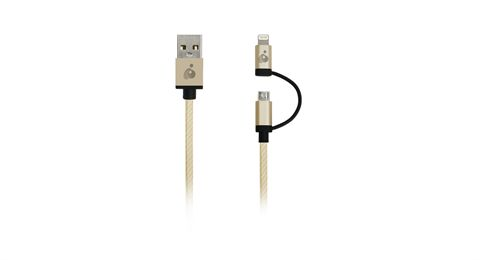 DuoLinq™ 2-in-1 Charge & Sync Cable - Gold