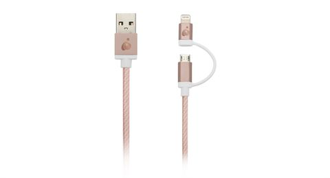DuoLinq™ 2-in-1 Charge & Sync Cable - Rose Gold