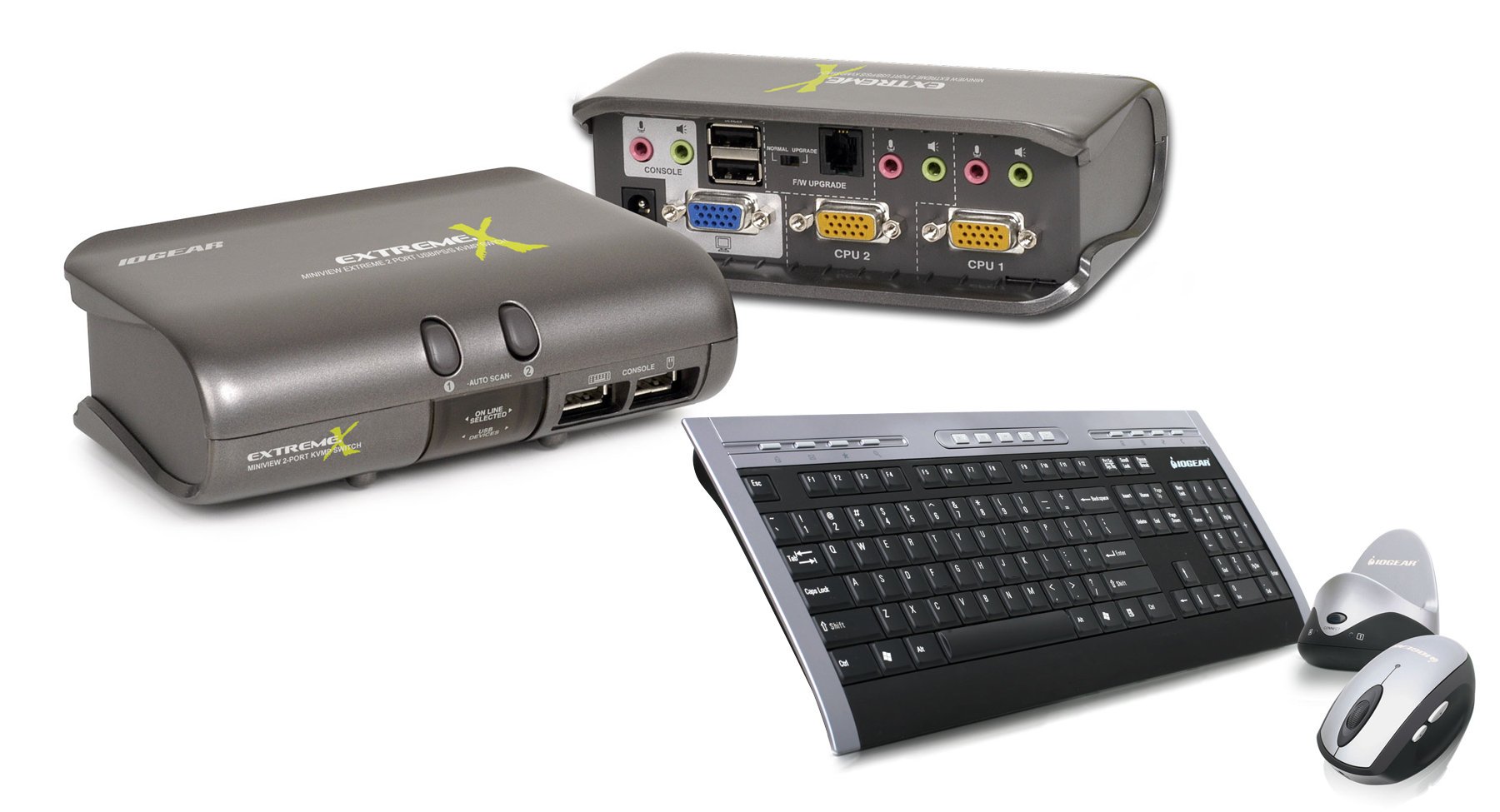 iogear gcs1732 km two port usb kvm with wireless mouse and keyboard. Black Bedroom Furniture Sets. Home Design Ideas