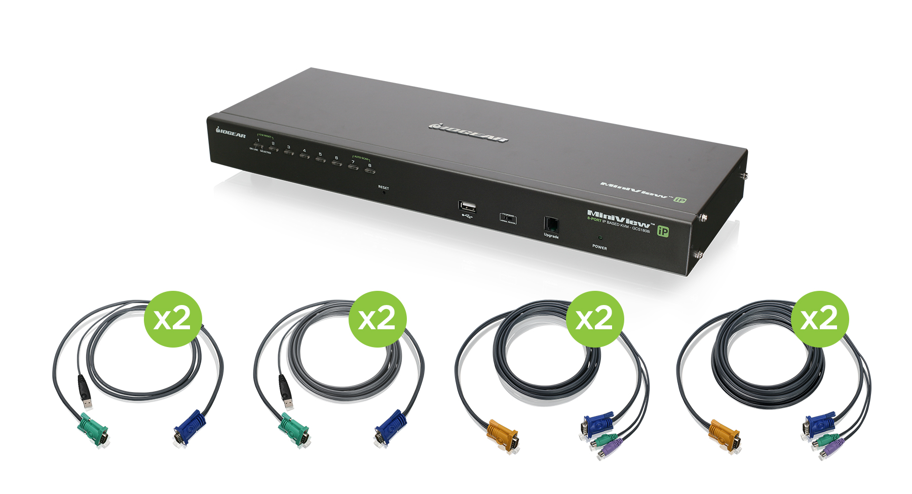 IOGEAR - GCS1808iKITTAA - 8-Port IP Based KVM Kit with PS/2 and USB