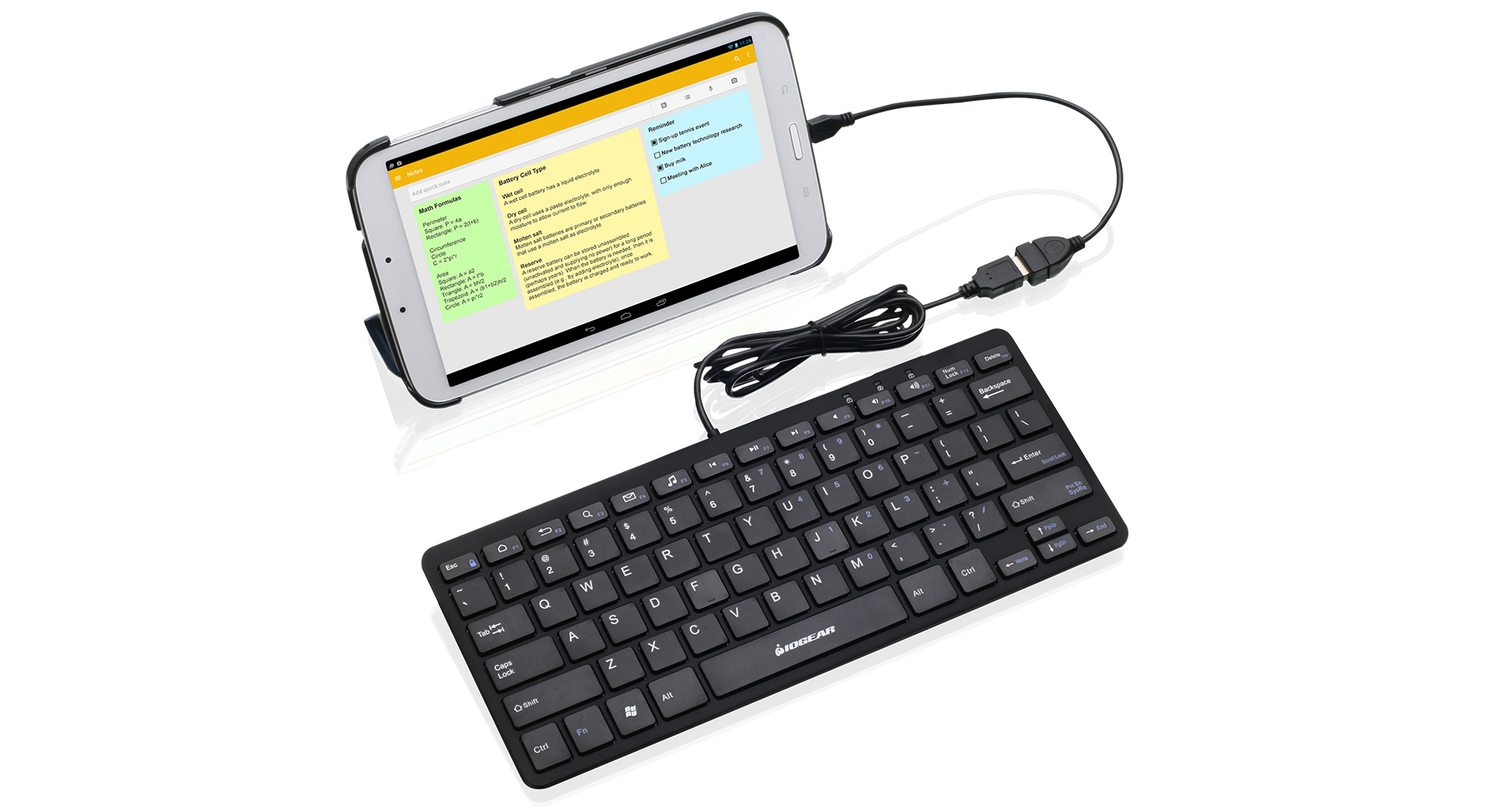 iogear gkb633u portable keyboard for tablets w otg adapter. Black Bedroom Furniture Sets. Home Design Ideas