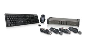 4 Port DVI KVMP with cables and wireless keyboard / mouse combo