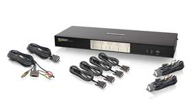 4-Port Dual View Dual-Link DVI KVMP Switch with Audio (TAA Compliance)
