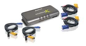 4-Port MiniView™ Extreme Multimedia KVMP Switch w/Cables