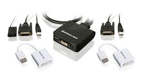 2-Port USB DVI and DisplayPort Cable KVM Kit